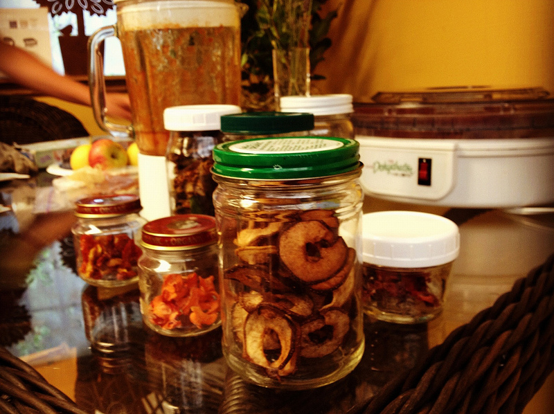 dehydrated fruit stored in jars